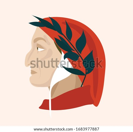 dante alighieri vector head in