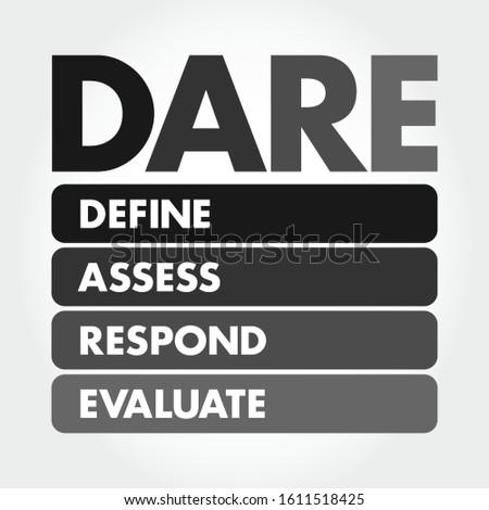 DARE - Define Assess Respond Evaluate acronym, business concept background