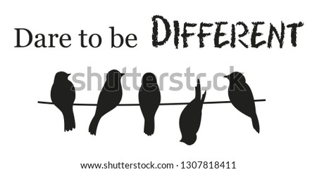 Dare to be different. Inspiration and motivation quote. Wall decal to decorate home. Sticker concept. Vector silhouettes.