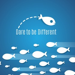 Dare to be different success solution vector concept with small fishes group. Illustration of individual leadership, inventive and fearless