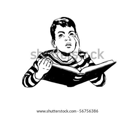 Dare To Dream - Boy Reading Book - Retro Clip Art