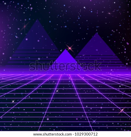 Stock Photo Dark abstract background made in 80s style. Abstract background with neon grids and starry sky and pyramids in vintage style. Vector illustration for your graphic design.