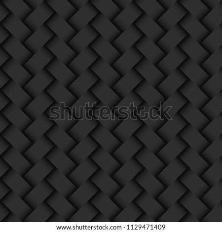 Dark abstract background wicker texture seamless pattern. Vector.