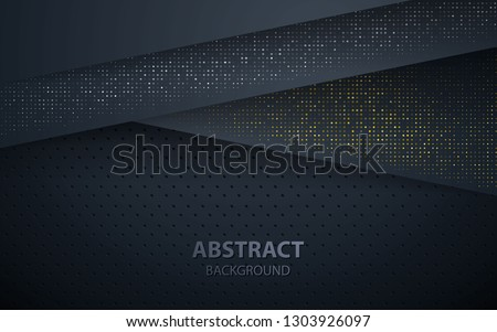 Dark abstract background with black overlap layers. Texture with silver and golden glitters dots element decoration.