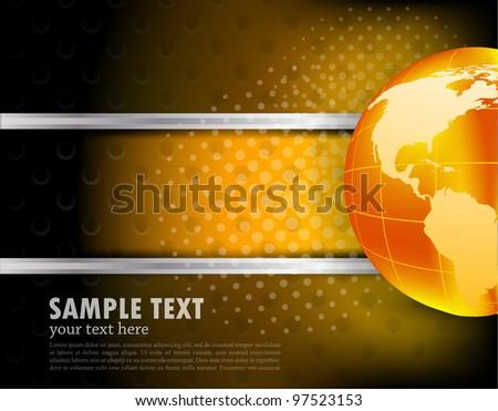 Dark abstract tech background with orange globe