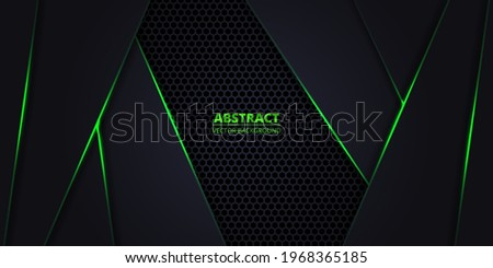 Dark abstract vector background with hexagon carbon fiber. Technology background with honeycomb grid and green luminous lines. Futuristic luxury modern backdrop. Imagine de stoc ©