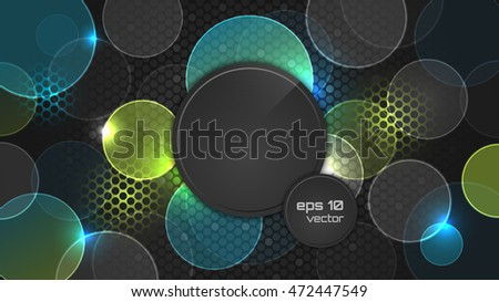 Dark abstract wallpaper with circle pattern and place for your headline. Vector illustration. #472447549