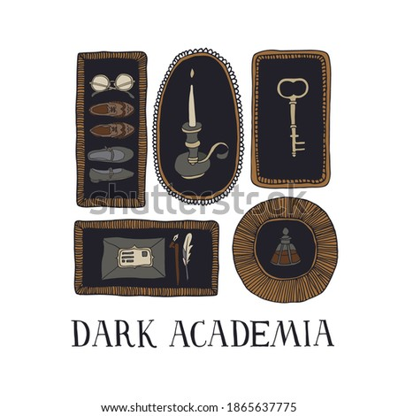 Dark Academia aesthetic. Vintage elements collection. Old key, envelope, ink bottle, candle, shoes and glasses in decorative frames. Hand written lettering. Antique vector illustration in sketch style Foto stock ©
