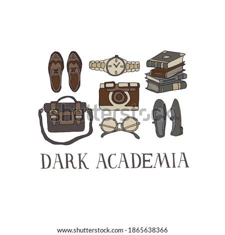 Dark Academia fashion set. Collection of vintage shoes and accessories. Stylish look or outfit. Vector illustration in line art style with hand drawn lettering Foto stock ©