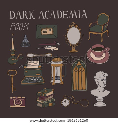 Dark Academia room set. Vintage elements collection. Bust, french press, typewriter, stacks of books and antique furniture. Lifestyle vector illustration in dark colors with hand written lettering Foto stock ©