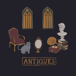 Dark Academia room. Stacks of books, vintage armchair, gramophone, ancient bust and gothic windows. Cute cat looking at the old mirror. Antique aesthetic vector illustration with hand drawn lettering