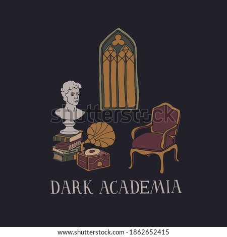 Dark Academia room. Stacks of books, vintage furniture, ..gramophone, ancient bust and gothic window. Antique aesthetic vector illustration with hand drawn lettering Foto stock ©