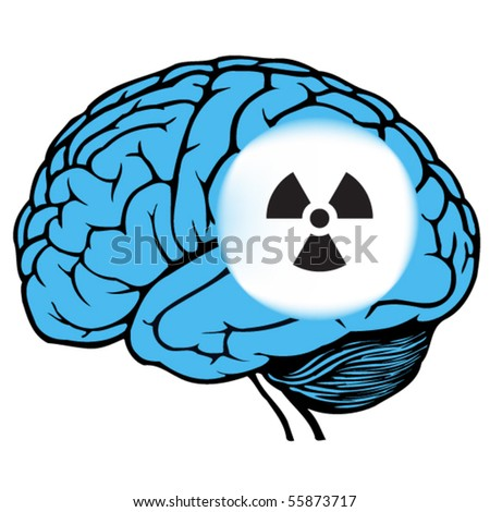 dark and light blue human brain with sign