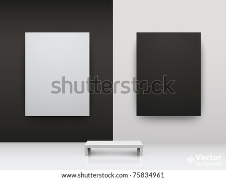 Dark and light gallery Interior with empty frames on wall