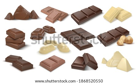 Dark and milky chocolate pieces. Realistic 3D cocoa dessert. Confectionery with nuts, isolated sweet snack assortment. Candies from natural ingredients. Food product advertising templates, vector set ストックフォト ©