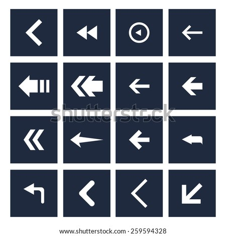 dark background back arrow previous icon set. simple pictogram minimal, flat, solid, mono, monochrome, plain, contemporary style. Vector illustration web internet design elements  #259594328