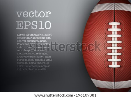 Dark Background of American Football and rugby sports. Theme of list and schedule of players and statistics. Realistic Vector Illustration.