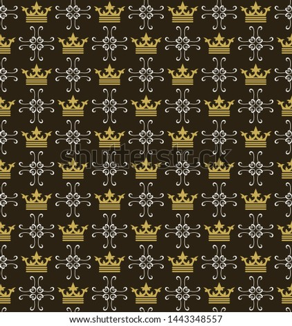 Dark background pattern. Retro pattern. Background image. Seamless wallpaper in the royal style. Vector illustration