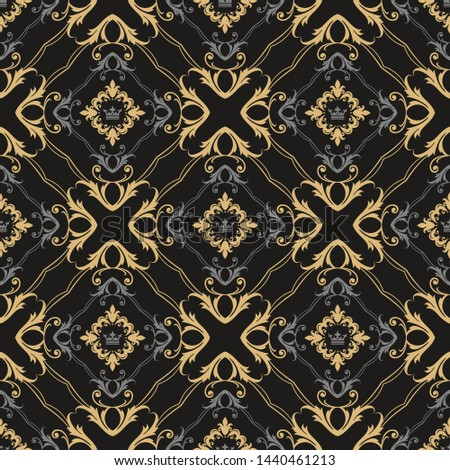 Dark background pattern. Retro pattern in royal style. Ornament illustration. Wallpaper background. Abstract seamless texture. Template for fabric design. Vector illustration