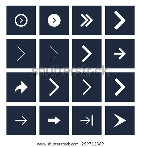 dark background white next arrow icon previous collection. simple pictogram minimal, flat, solid, mono, monochrome, plain, contemporary style. Vector illustration web internet design elements #259712369