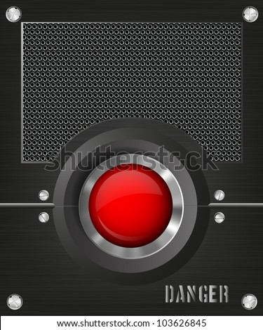 dark background with a red button and speaker