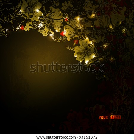 dark  background with decorative flowers