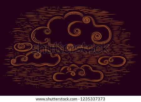 Dark background with drawing clouds. Night cloudy sky.