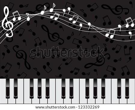 dark background with piano keys