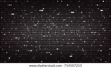 Dark Background with Programming Code. Data backdrop with Blur Effect. Vector Illustration with concept of Binary Computer Code. Technology Algorithm in Decryption and Encryption. Coding concept.