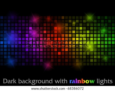 Dark background with rainbow lights
