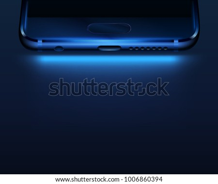 Dark background with smartphone bottom. Vector illustration for technology advertising.