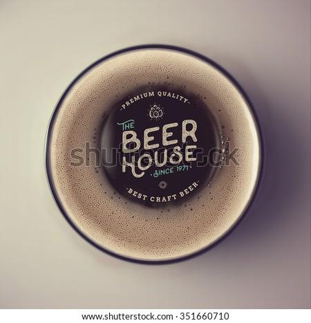 dark beer cup  top view  beer