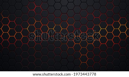 Dark black hexagon pattern on red, orange neon abstract background in technology style. Modern futuristic geometric shape web banner design. You can use for cover template, poster. Vector illustration