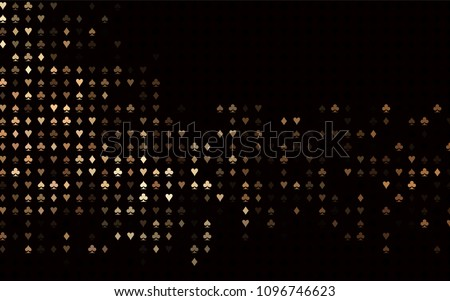 Dark Black vector background with cards signs. Glitter abstract sketch with isolated symbols of playing cards. Smart design for your business advert of casinos.