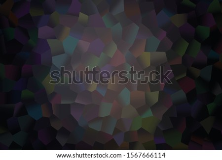 Dark Black vector texture with colorful hexagons. Colorful hexagons on abstract backdrop. Pattern for ads, leaflets.