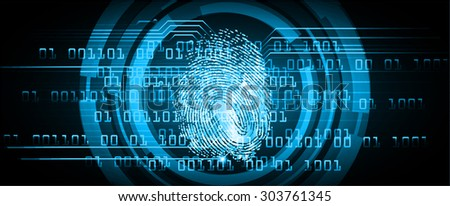 dark blue Abstract digital conceptual technology security background with lock. computer technology website internet web. infographics. fingerprint. Finger-print scanning