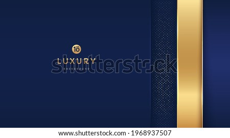 Dark blue and gold vertical rectangle shapes on background with glowing golden striped lines and glitter. Luxury and elegant. Abstract template design. Design for presentation, banner, cover. EPS10 vector ストックフォト ©