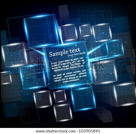 Dark blue background with cubes and lights