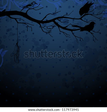 Dark blue background with tree branch and birds silhouettes