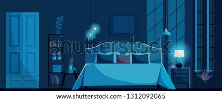 dark blue bedroom interior with