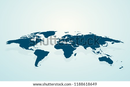 dark blue blank world map fake3D