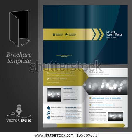 Dark blue brochure template design with golden arrows. EPS 10