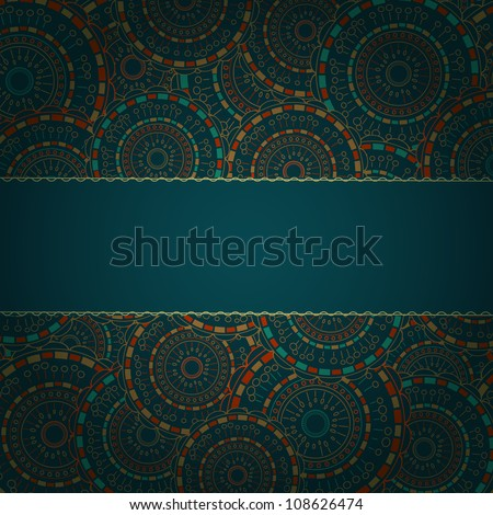 Dark Blue Card with Round Pattern and Band for Sample Text. Vector Background