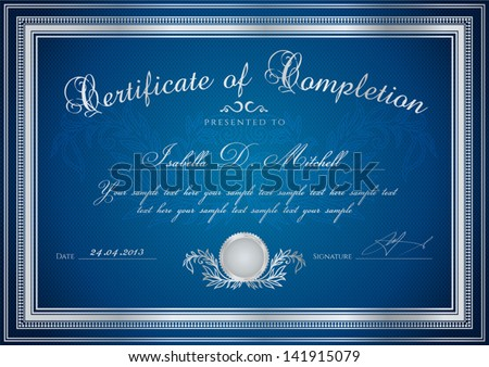 Dark Blue Certificate / Diploma Of Completion (Design ...