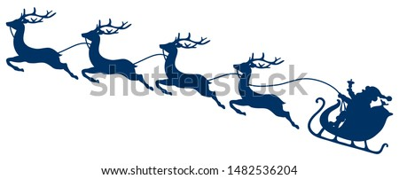 Dark Blue Christmas Sleigh Santa And Four Flying Reindeers