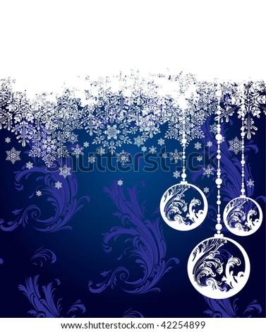 Dark blue christmas vector background - stock vector