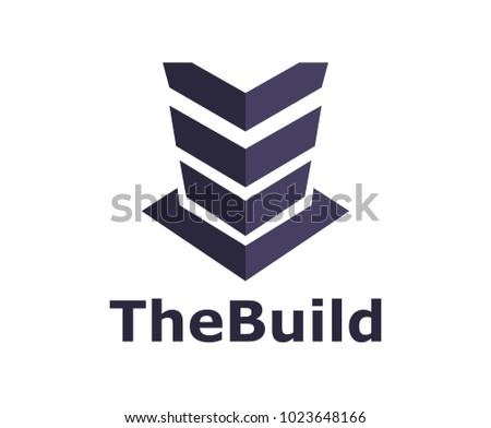 dark blue color building tower iconic logo design illustration concept idea
