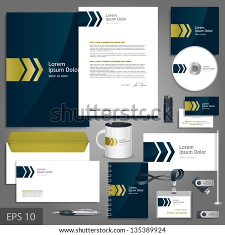 Dark blue corporate identity template with golden arrows. Vector company style for brandbook and guideline. EPS 10