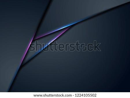 Dark blue corporate tech background with neon glowing lights. Vector design