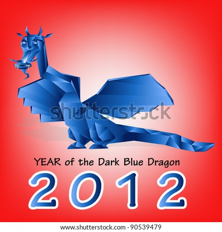 Dark blue fantastic dragon a symbol 2012 new years
